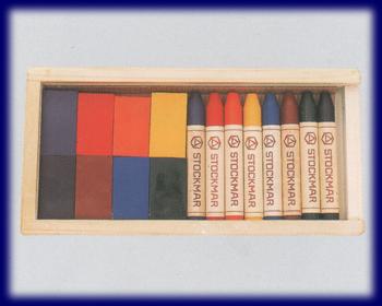 シュトックマー クレヨン ブロック8色スティック8色 木箱 みつろうクレヨン