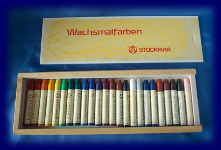 スティッククレヨン 24色木箱 蜜ろうクレヨン