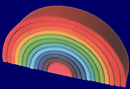 トンネル 虹色 特大 木のおもちゃ