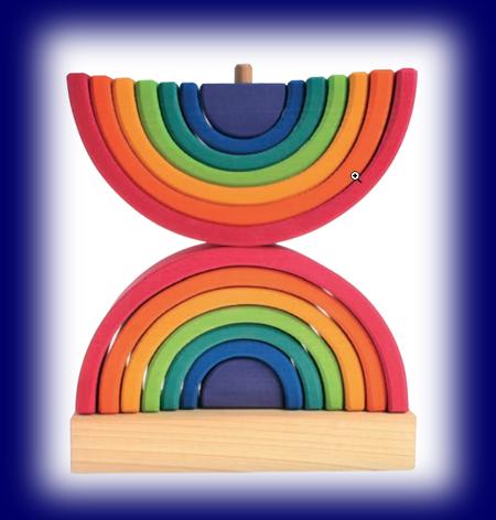 虹色トンネル ダブル/スタンド付き 木のおもちゃ