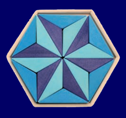 木枠付き ヘキサゴンパズル ブルー GRIMM'S Spiel & Holz Design パズル