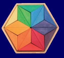 木枠付き ヘキサゴンパズル レインボー GRIMM'S Spiel & Holz Design パズル