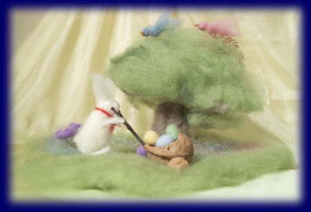 イースター うさぎ 羊毛人形