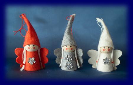 スモールクリスマス ちいさい女の子3人 Aセット オーナメント・壁飾り