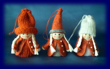 スモールクリスマス ちいさい女の子3人 Bセット オーナメント・壁飾り