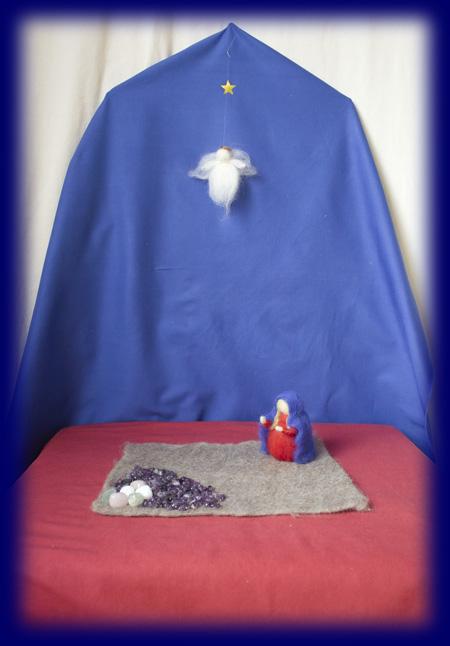 クリスマス ネイチャーコーナー 羊毛人形