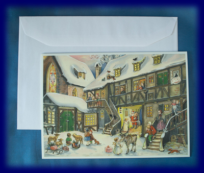 アドベントグリーティングカード 天使とサンタ No.680 アドベント・カレンダー