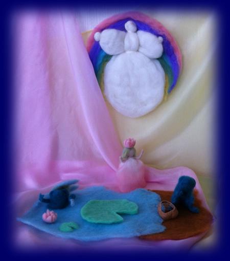 ネイチャーコーナー 水辺のかえる 羊毛人形