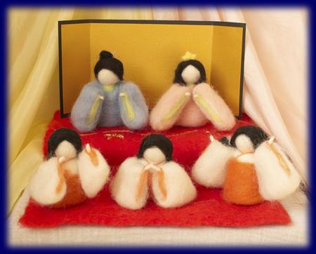 ネイチャーコーナー ひなまつり 羊毛人形