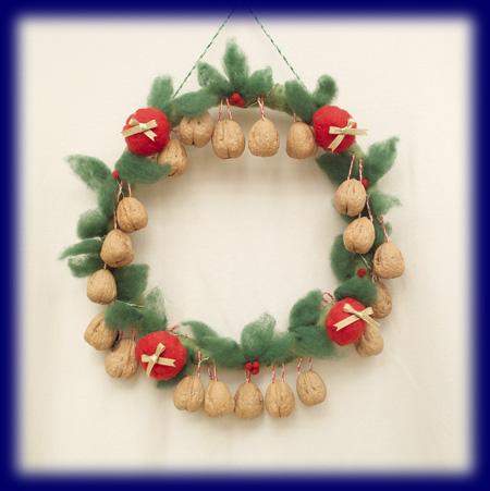 くるみ クルミ 胡桃 リース 羊毛 アドベント クリスマス