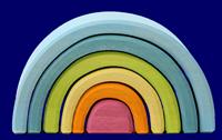 トンネル 虹色パステル 小 いろいろな木のおもちゃ Grimm