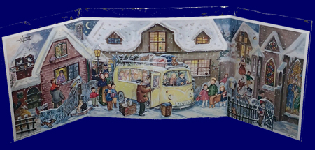 立体アドベントカレンダー(横長)バスと雪の町 No.215 アドベント・カレンダー 雑貨