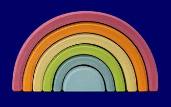 トンネル 虹色パステル 大 いろいろな木のおもちゃ Grimm