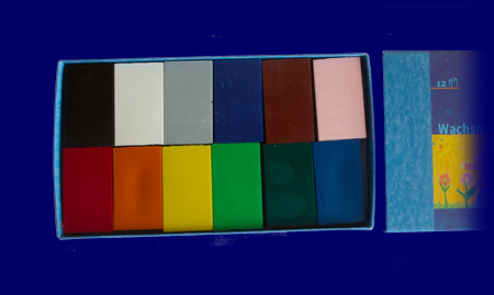ブロッククレヨン 12色紙箱入り 蜜ろうクレヨン