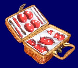 ミニミニ陶器のおままごとセット(バスケット付き) 赤